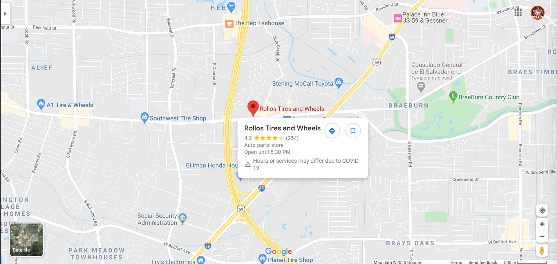 Rollos tires and wheels location map